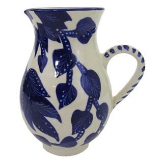 Handmade Le Souk Ceramique Jinane Design Large Stoneware Pitcher (Tunisia)