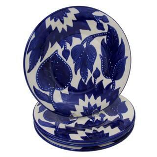Handmade Set of 4 Le Souk Ceramique Jinane Design Stoneware Dinner Plates (Tunisia)|https://ak1.ostkcdn.com/images/products/12523973/P19329006.jpg?impolicy=medium