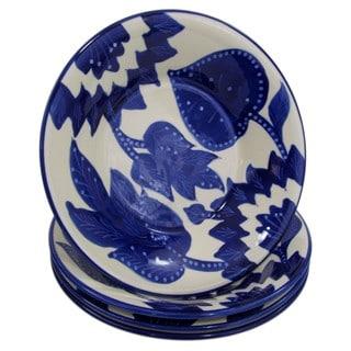 Set of 4 Le Souk Ceramique Jinane Design Stoneware Pasta/Salad Bowls (Tunisia)