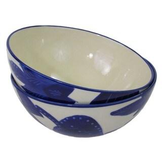 Handmade Le Souk Ceramique Jinane Design Medium Stoneware Deep Serve Bowls (Tunisia)