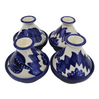 Set of 4 Le Souk Ceramique Jinane Design Mini Stoneware Tagines (Tunisia)