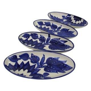 Set of 4 Le Souk Ceramique Jinane Design Small Stoneware Oval Platters (Tunisia)