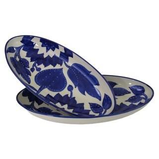Handmade Set of 2 Le Souk Ceramique Jinane Design Large Stoneware Oval Platters (Tunisia)