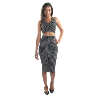 Hadari Women's 2 piece Black Stripped Halter Top and Pencil Skirt with Zipper