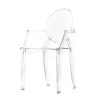 Polycarbonate Stackable Louis Style Clear Ghost Chair with Armrests