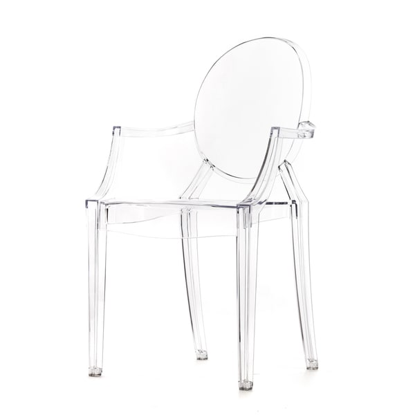 Polycarbonate Stackable Louis Style Clear Clear Chair With Armrests