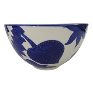 Handmade Le Souk Ceramique Jinane Design Deep Stoneware Salad Bowl (Tunisia)