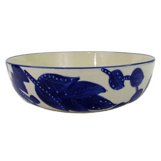 Handmade Le Souk Ceramique Jinane Design Wide Stoneware Salad/Pasta Bowl (Tunisia)