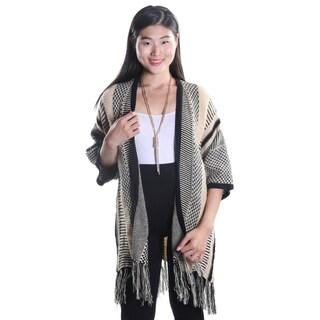 Hadari Women's Beige Open Front Patterned Cardigan with Medium Length Sleeves