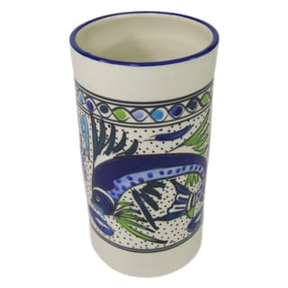 Le Souk Ceramique Aqua Fish Design Stoneware Utensil/Wine Holder (Tunisia)