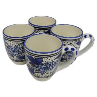 Handmade Set of 4 Le Souk Ceramique Stoneware Aqua Fish Design Tea/Espresso Cup and Saucer (Tunisia)|https://ak1.ostkcdn.com/images/products/12524026/P19329025.jpg?impolicy=medium