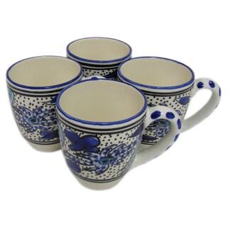 Handmade Set of 4 Le Souk Ceramique Stoneware Aqua Fish Design Tea/Espresso Cup and Saucer (Tunisia)