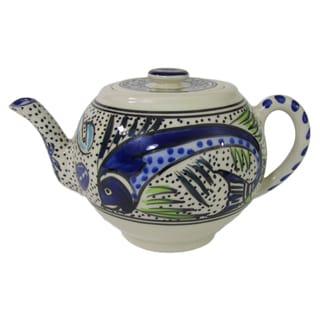 Handmade Le Souk Ceramique Aqua Fish Design Stoneware Teapot (Tunisia)
