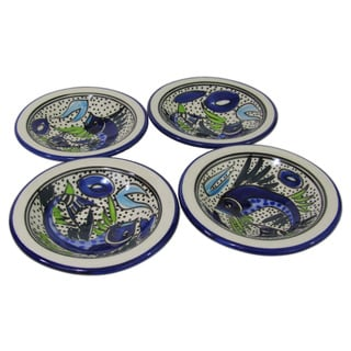 Set of 4 Le Souk Ceramique Aqua Fish Design Round Stoneware Sauce Dishes (Tunisia)
