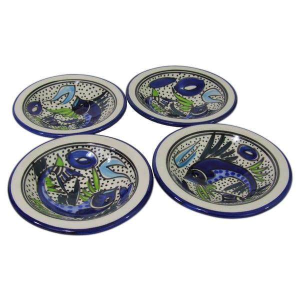 Set of 4 Le Souk Ceramique Aqua Fish Design Round Stoneware Sauce Dishes (Tunisia)  sc 1 st  Overstock.com & Set of 4 Le Souk Ceramique Aqua Fish Design Round Stoneware Sauce ...