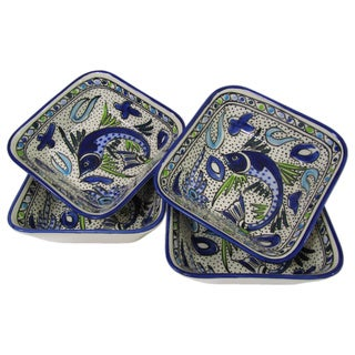 Set of 4 Le Souk Ceramique Aqua Fish Design Square Stoneware Pasta/Salad Bowls (Tunisia)