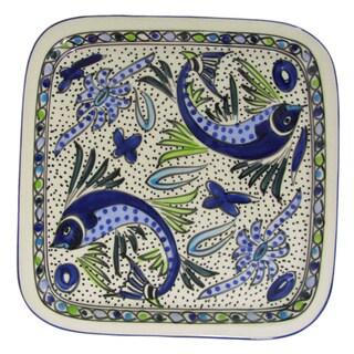 Le Souk Ceramique Aqua Fish Design Square Stoneware Platter (Tunisia)