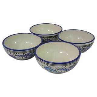 Set of 4 Le Souk Ceramique Aqua Fish Design Stoneware Deep Sauce/Ice Cream Bowls (Tunisia)