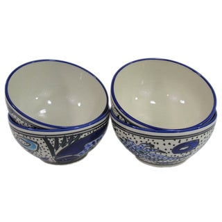 Set of 4 Le Souk Ceramique Aqua Fish Design Stoneware Soup/Cereal Bowls (Tunisia)