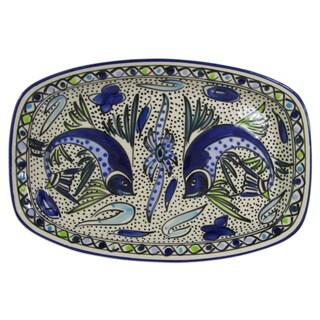 Le Souk Ceramique Aqua Fish Design Rectangular Stoneware Platter (Tunisia)
