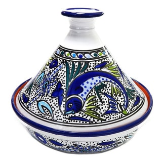 Cookable Tagine-30 - Aqua Fish Design, by Le Souk Ceramnique (Tunisia)