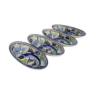 Set of 4 Le Souk Ceramique Aqua Fish Design Small Stoneware Oval Platters (Tunisia)
