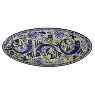 Le Souk Ceramique Aqua Fish Design Extra Large Stoneware Oval Platter (Tunisia)