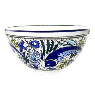 Le Souk Ceramique Aqua Fish Design Deep Stoneware Salad Bowl (Tunisia)