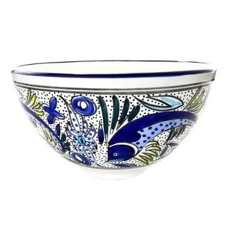 Handmade Le Souk Ceramique Aqua Fish Design Deep Stoneware Salad Bowl (Tunisia)