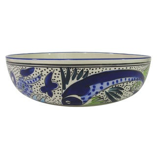 Le Souk Ceramique Aqua Fish Design Wide Stoneware Salad/Pasta Bowl (Tunisia)