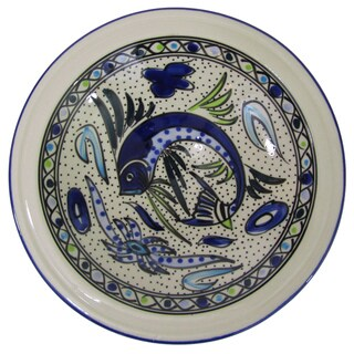Le Souk Ceramique Aqua Fish Design Small Stoneware Serving Bowl (Tunisia)