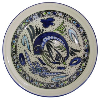 Handmade Le Souk Ceramique Aqua Fish Design Small Stoneware Serving Bowl (Tunisia)