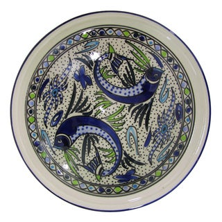 Le Souk Ceramique Aqua Fish Design Medium Stoneware Serving Bowl (Tunisia)