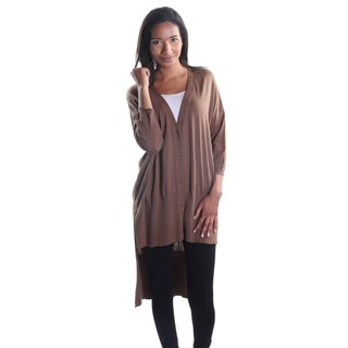 Hadari Women's Brown Button Down High Low V-Neck Medium Sleeve Cardigan