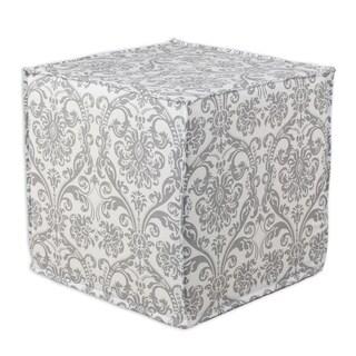 Abigail Storm Twill Cotton 17-inches Square Seamed Foam-fill Damask Ottoman
