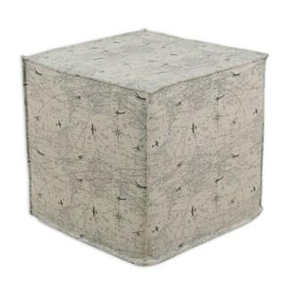 Air Traffic Felix Grey Cotton 17-inch Square Seamed Foam Ottoman