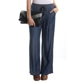 Hadari Women's Dark Indigo Casual Lounge Pants with Elastic String Waistline