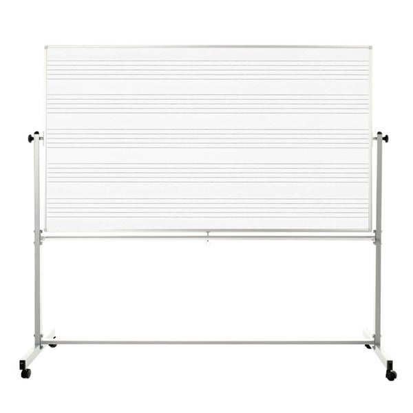 Offex Reversible Mobile Magnetic 72 x 48-inch Magnetic Music Whiteboard