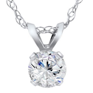 14k White Gold 1/4ct TDW Diamond IGI Certified Solitaire Diamond Pendent (H-I, SI1-I1)
