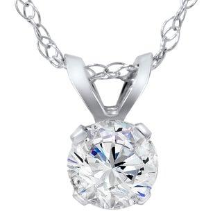 14k White Gold 1/4ct TDW Diamond IGI Certified Solitaire Diamond Pendent