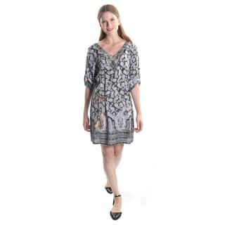 Hadari Women's Paisely V-Neck Studded 3/4 Sleeve Midi Shift Dress