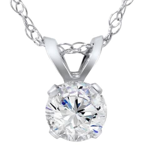 14k White Gold 1/4ct TDW Diamond IGI Certified Solitaire Diamond Pendent (G-H, VS2-SI1)