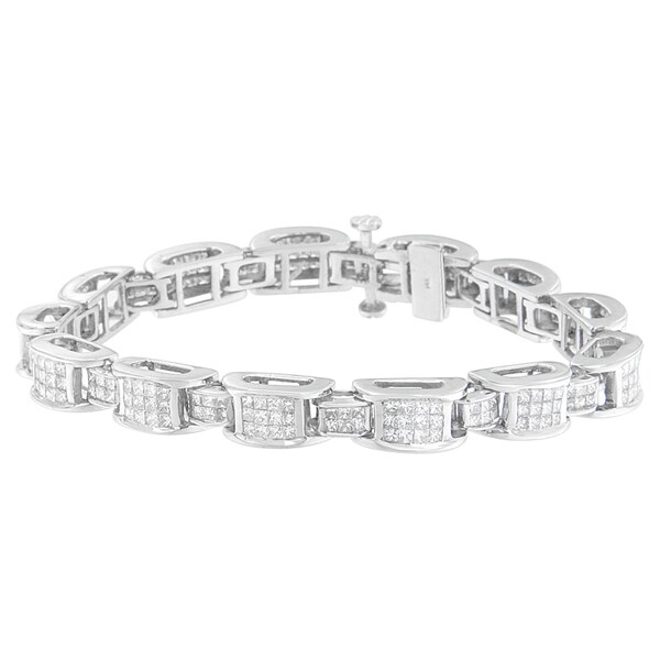 14K White Gold 5ct TDW Princess cut Diamond Bracelet H I SI2 I1