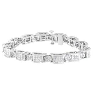 14K White Gold 5ct. TDW Princess-cut Diamond Bracelet (H-I,SI2-I1)