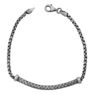 Argento Italia Sterling Silver Oxidized Fancy Weave Bracelet (7.5 inches)
