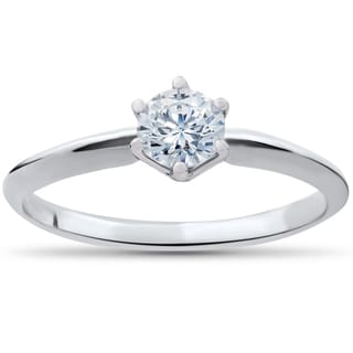 14k White Gold 1/3 ct TDW Diamond IGI Certified Diamond Engagement Solitaire (G-H, SI1-SI2)