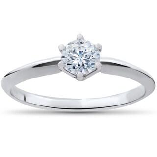 14k White Gold 1/3 ct TDW Diamond IGI Certified Diamond Engagement Solitaire (G-H, SI1-SI2) - White G-H