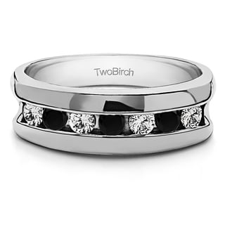 TwoBirch Sterling Silver Channel Set Unique Men's Rings With Black And White Diamonds(0.49 Cts., black, I1-I2