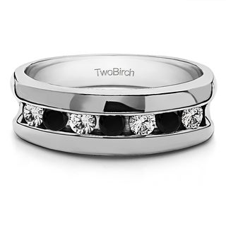 Sterling Silver Channel Set Unique Men's Rings With Black And White Diamonds(0.49 Cts., black, I1-I2)
