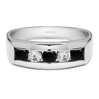 Sterling Silver Channel Set Men Wedding Ring With Black And White Diamonds(0.75 Cts., black, I1-I2)
